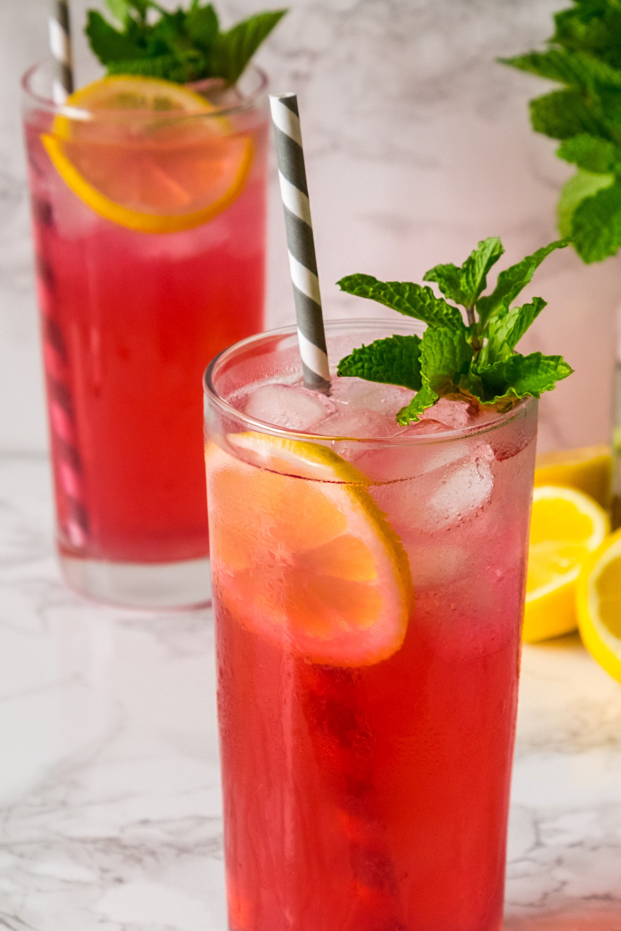Blueberry infused vodka pink lemonade