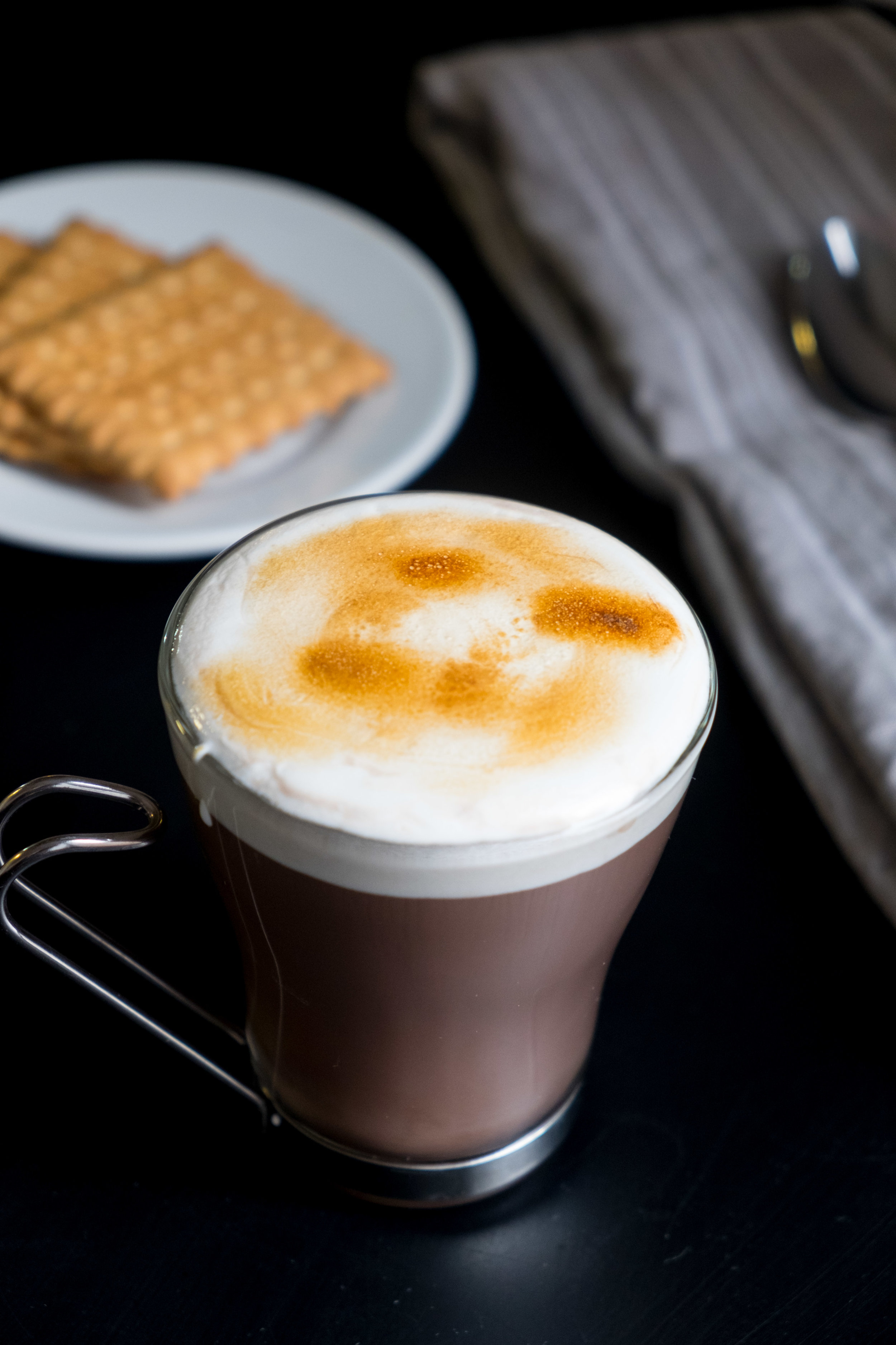 Hot chocolate with roasted marshmallow