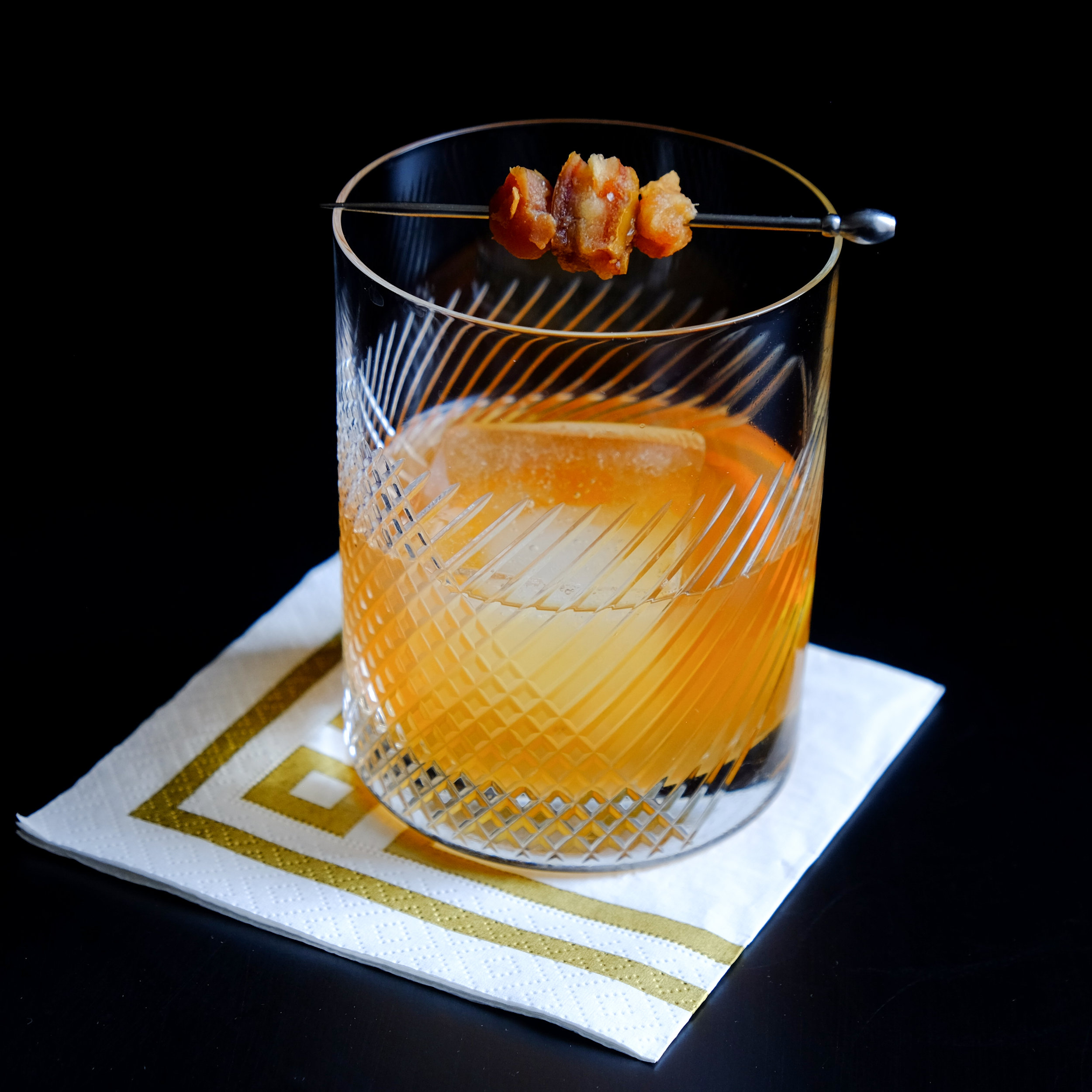 DATE OLD FASHIONED - A twist on the classic Old Fashioned featuring bourbon infused dates.