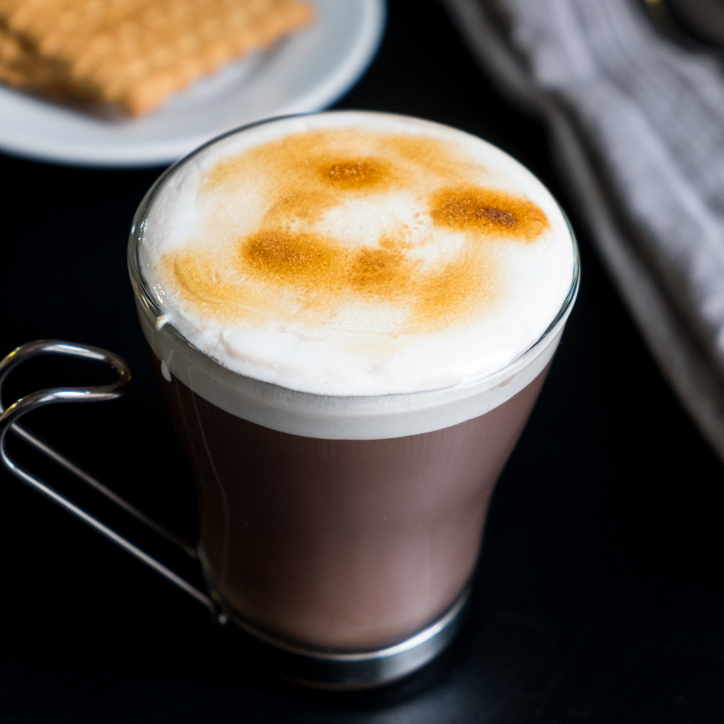 HOT CHOCOLATE WITH ROASTED MARSHMALLOW FLUFF -