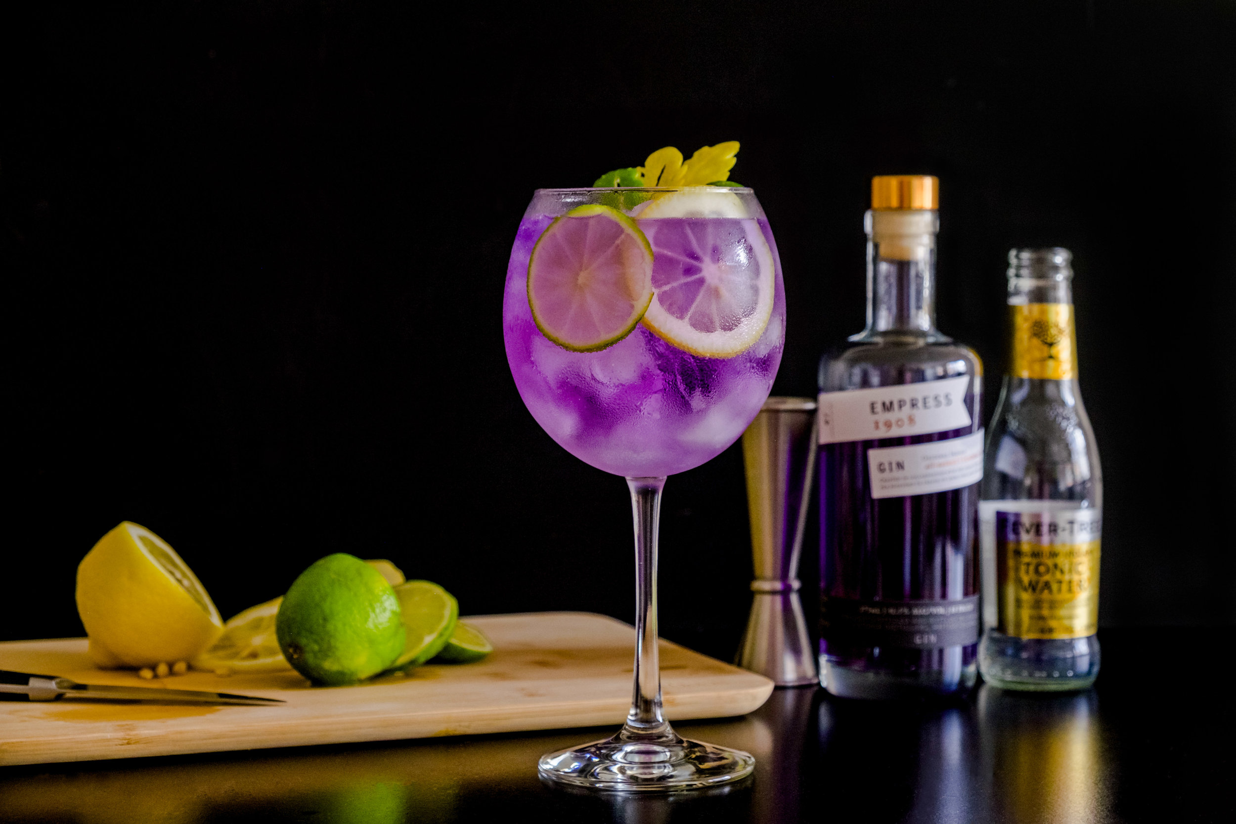 A sample of Empress Gin was received for this photo.