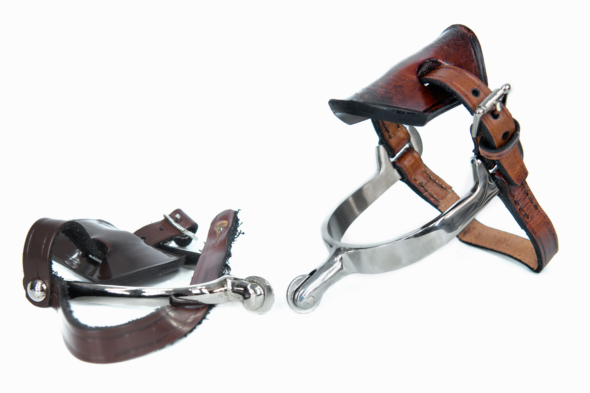 """The spur on the left, is the standard government issue """"Jack"""" spurs. The spur on the right, are our """"Long Shank"""" spurs."""