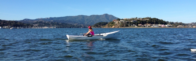 Meredith cruising in her weekly 'long slow' open-water rowing session in January.