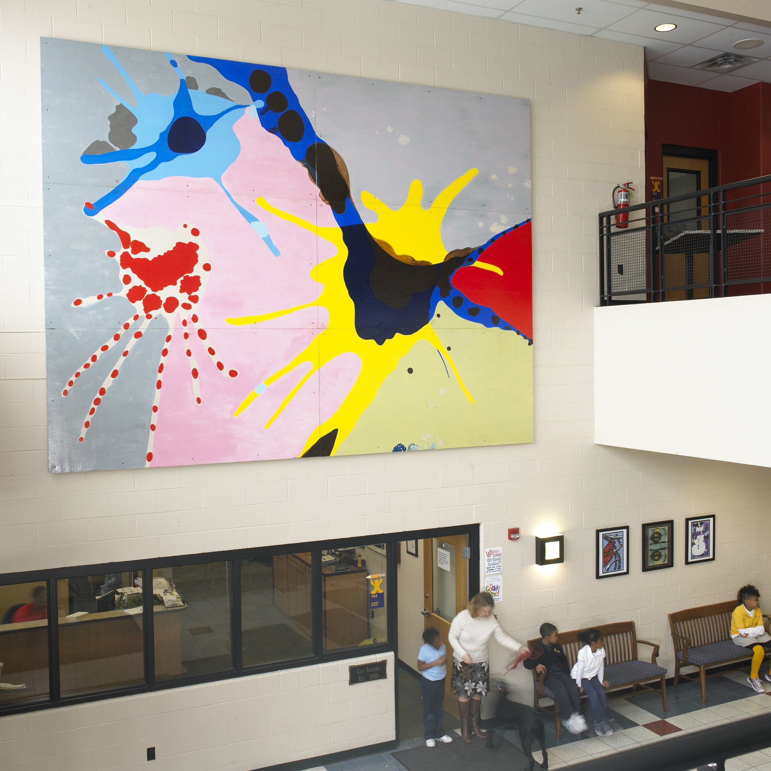 The Dance,  2005  acrylic on wood  12 x 16 feet  City Academy, Saint Louis