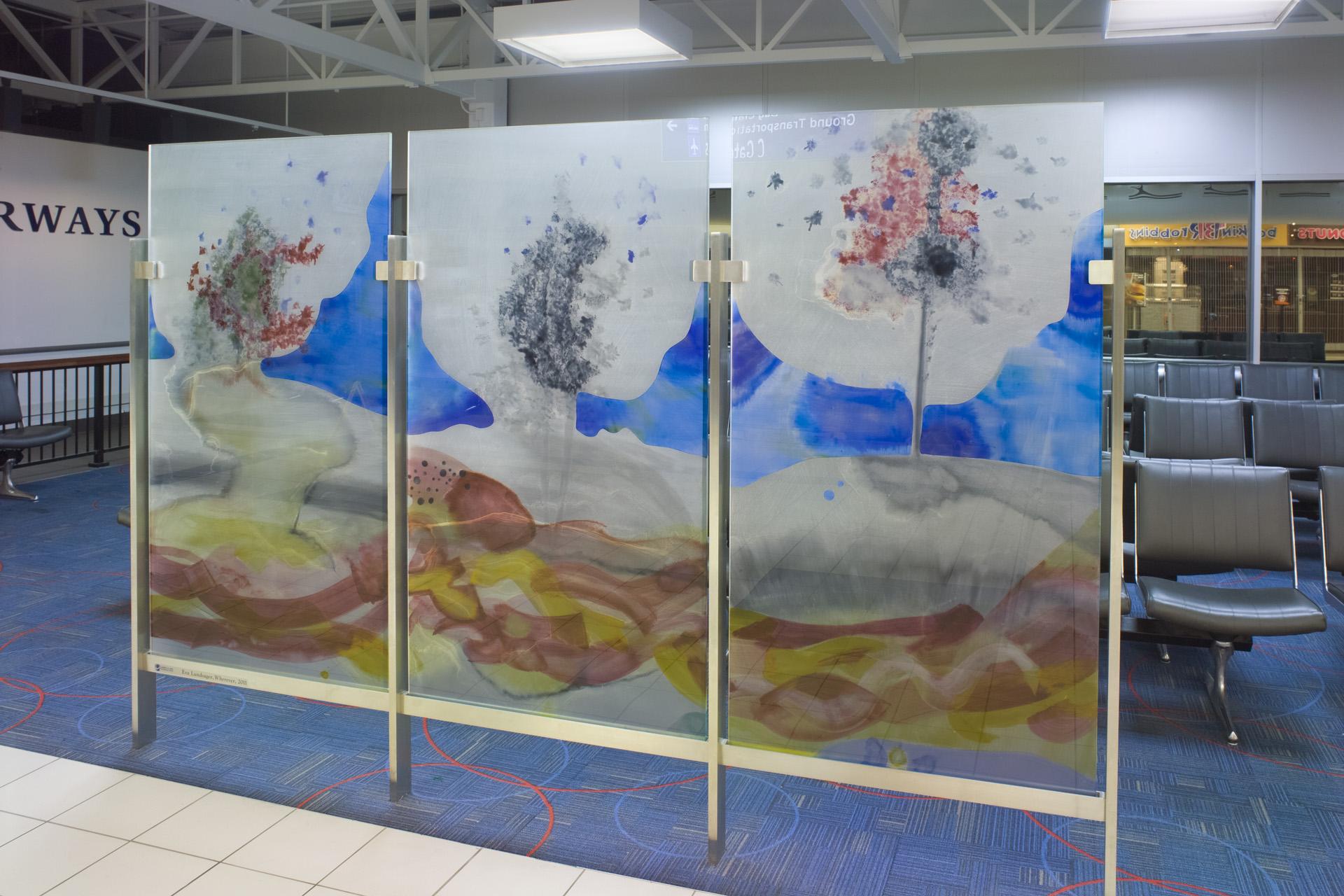 Wherever, 2012  glass  5 feet 6 inches x 9 feet  Lambert International Airport, Saint Louis