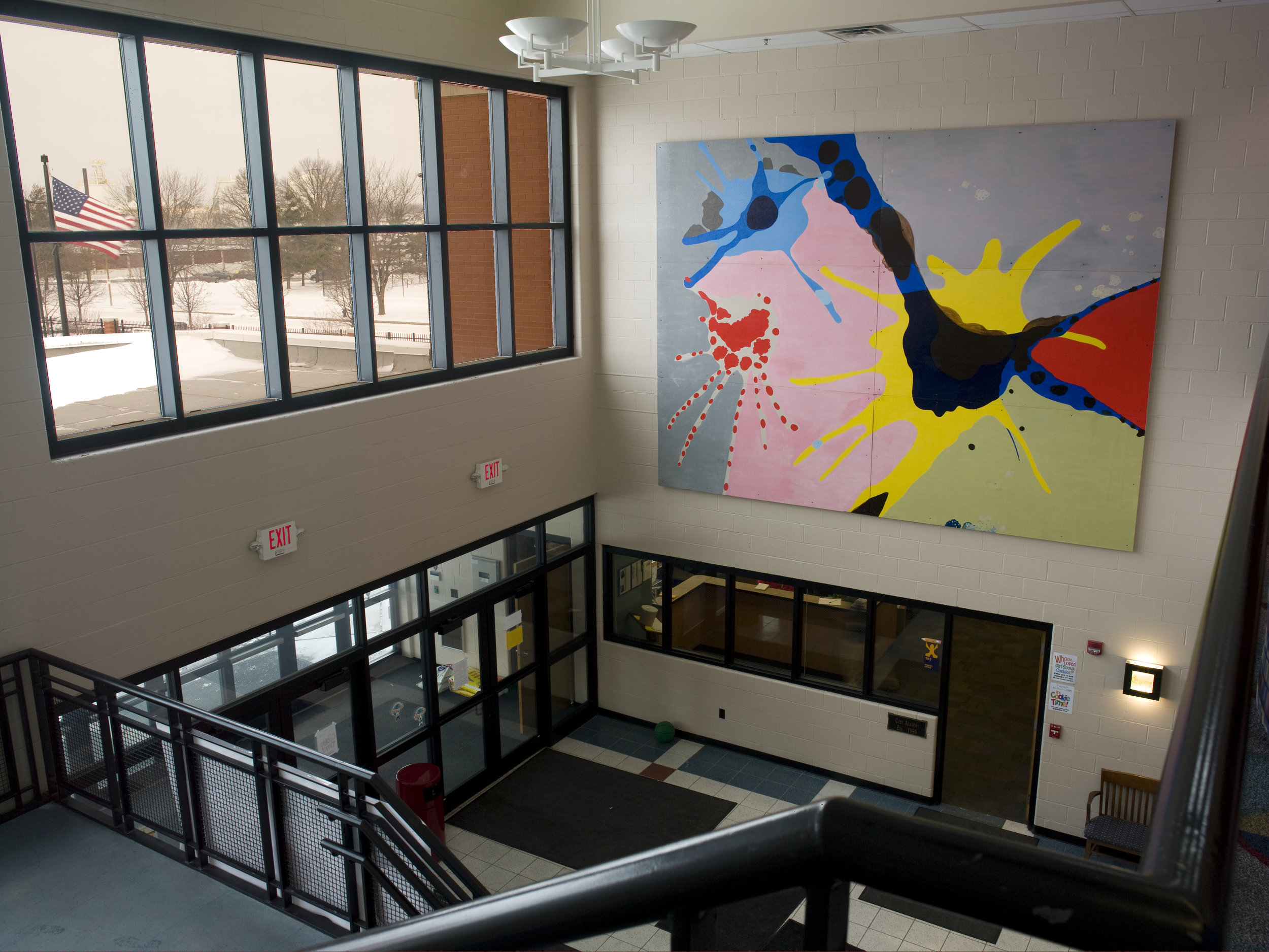 The Dance,  2005  acrylic on wood  12 feet x 16 feet  City Academy, Saint Louis