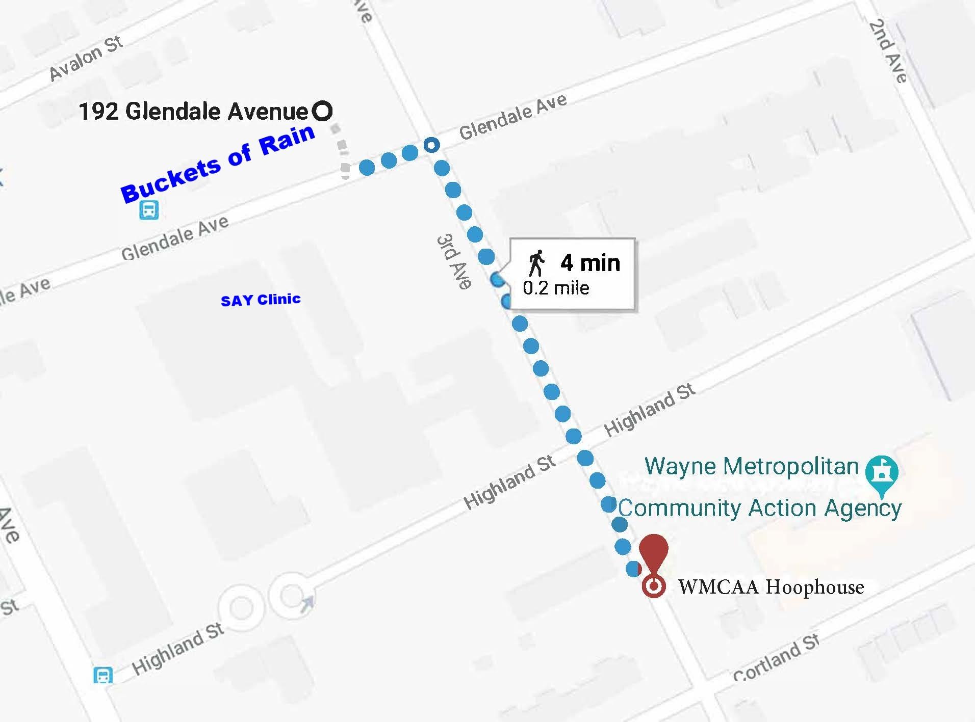 "Directions to the WMCAA Hoop house from Buckets of Rain's ""Big Glen"" garden."