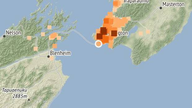 More than 4000 people have reported feeling a magnitude 3.8 earthquake near Wellington. Photo / Geonet NZ Herald