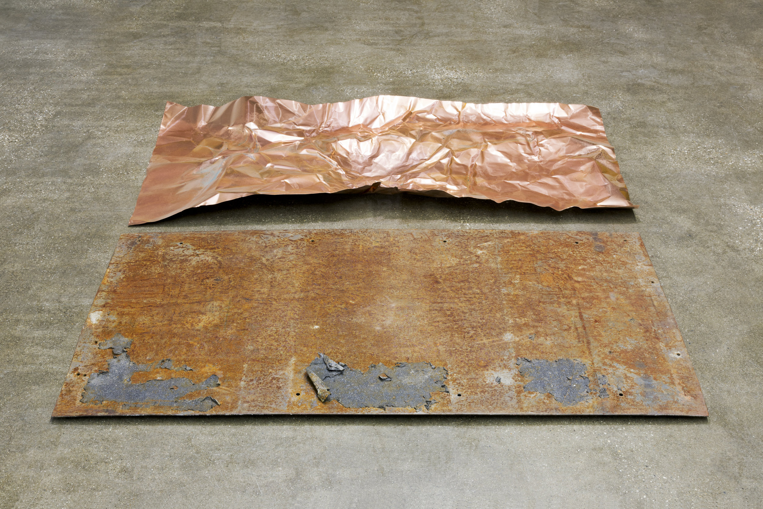 Hanging out  2018  Works in collaboration with  Kristine Eudey   Video, foam, plastic sheeting, radio, PVC welding curtains, slept-on copper, vinegar, found steel