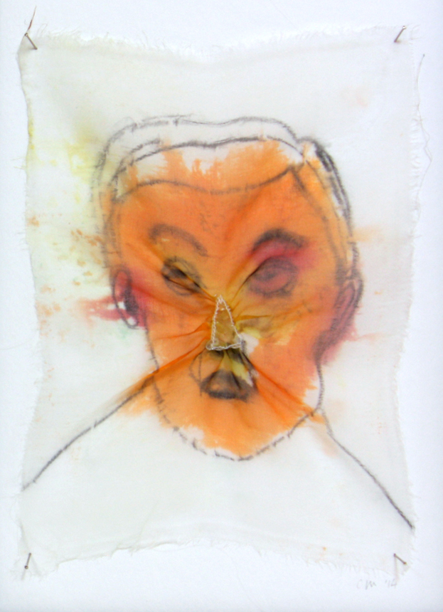 fabric dye and plastic on silk/ 10 x 15 cm/ 2014
