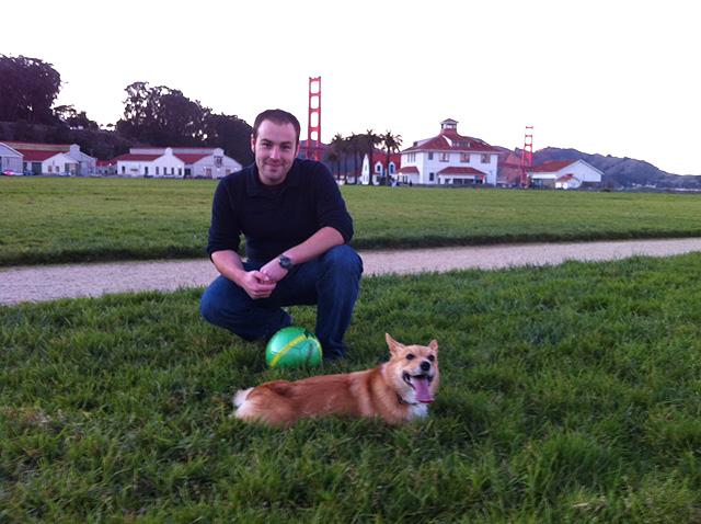 Grant with Peaches, the Hyperbole mascot.