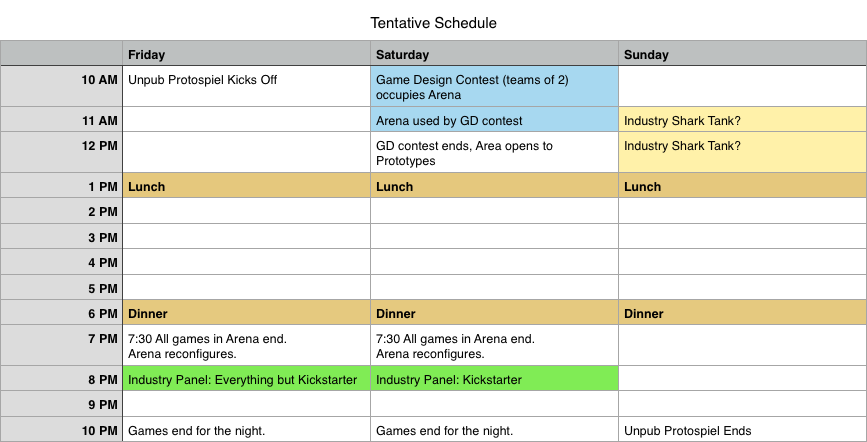 Tentative Schedule - Subject to change.