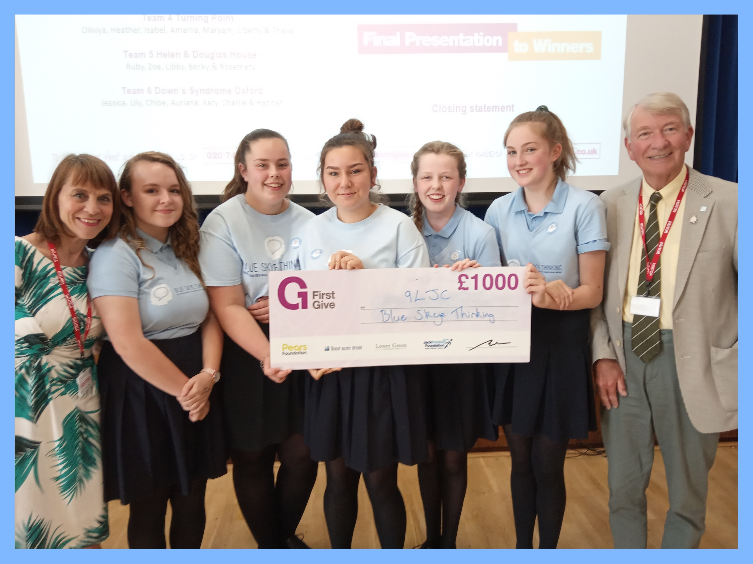 Amelie, Kate, Louise, Lily, Jenifer, Chloe, Maddie & Emily from Didcot Girls' School all made the finals of  First Give . A personal development project to help build a culture of giving,  First Give  allows pupils to choose a chosen Charity, learn more about them, organise and hold a fundraising event and then present their finding at school. The winning team are awarded £1000 for their chosen charity. Among very steep competition, Amelie, Kate and Louise were successful in winning this year's competition and we are so very grateful.  Thanks also to Head of Personal Development at the school, Stuart George.