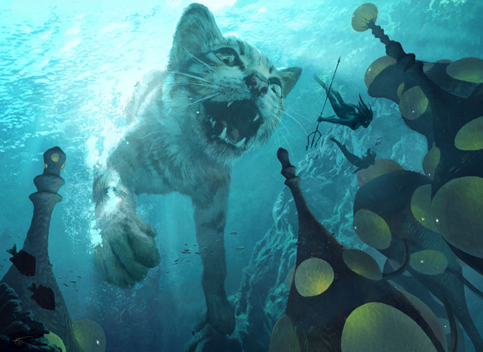 It's a giant cat chasing tiny mermen, what more do you want?!