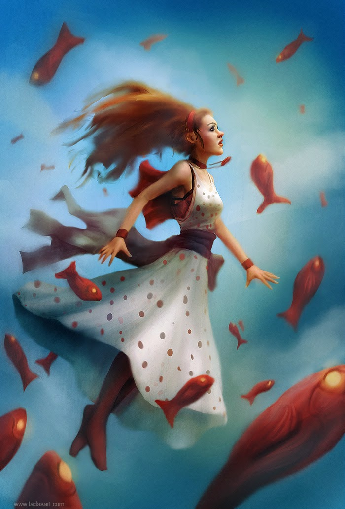 There's something about this I really like. Maybe it's the absurdity of the fish, maybe it's the intense look on her face. Maybe it's that she's dressed in sensible attire instead of chest-enhancing rumours of armour? Whatever it is, something about this is charming.