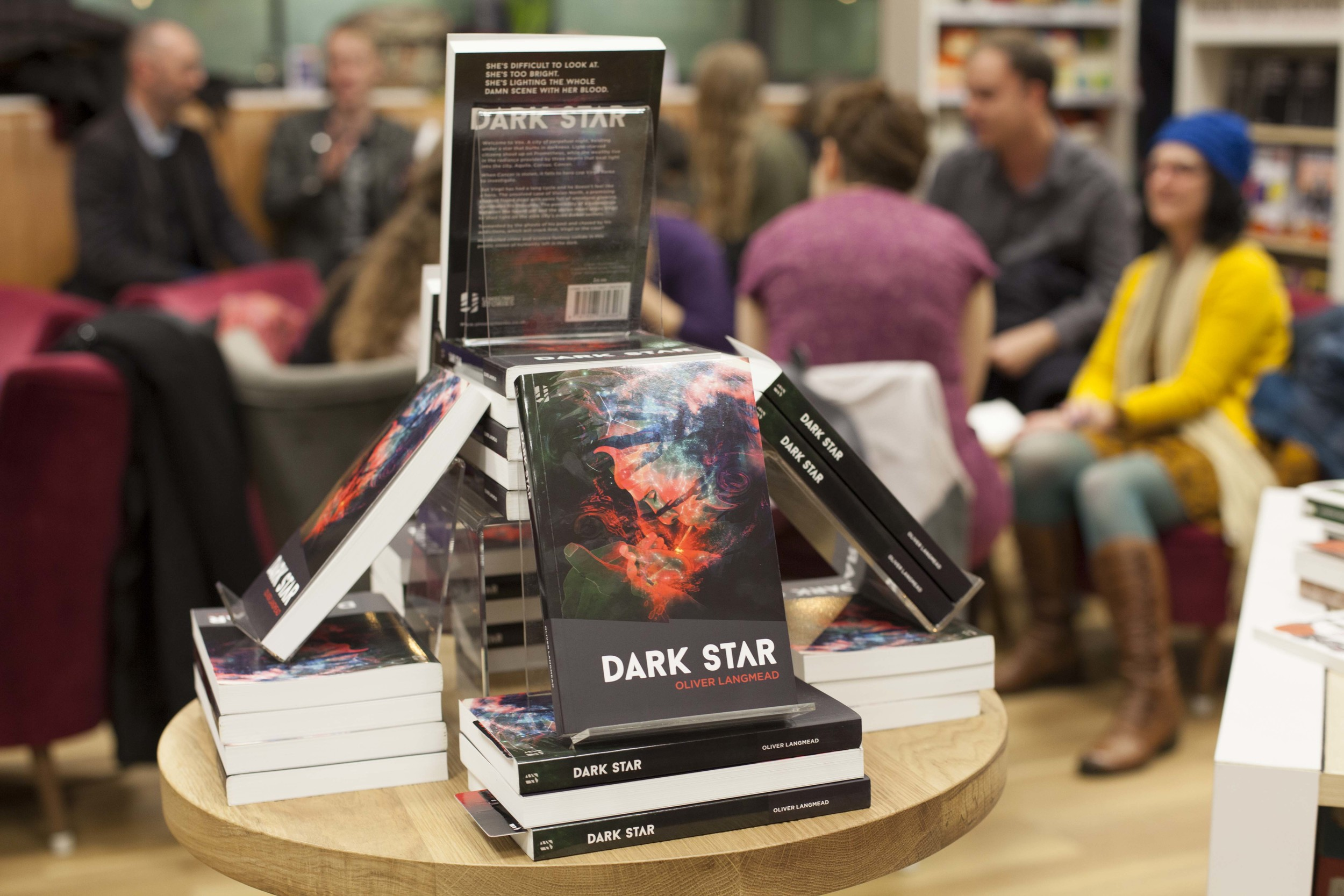 Copies of Dark Star on display at the official launch event. Blackwells Holborn 20 March 2015.jpg