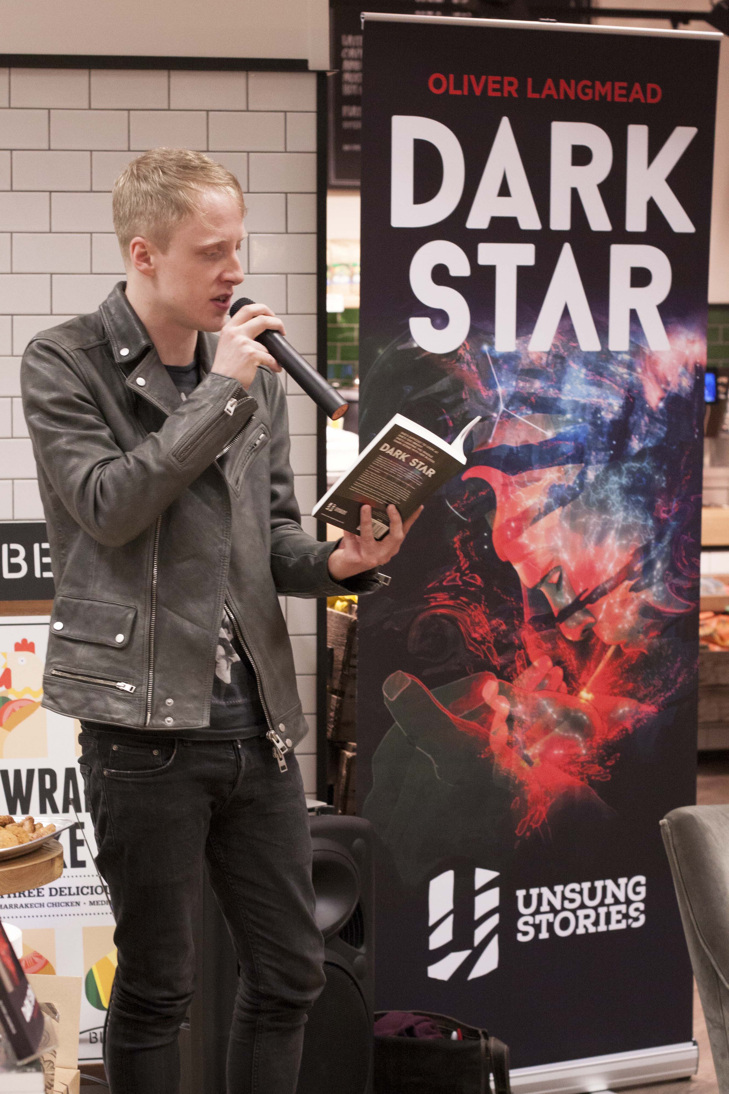 Oliver Langmead reads Dark Star at the official launch event. Blackwells Holborn 20 March 2015 (Portrait).jpg