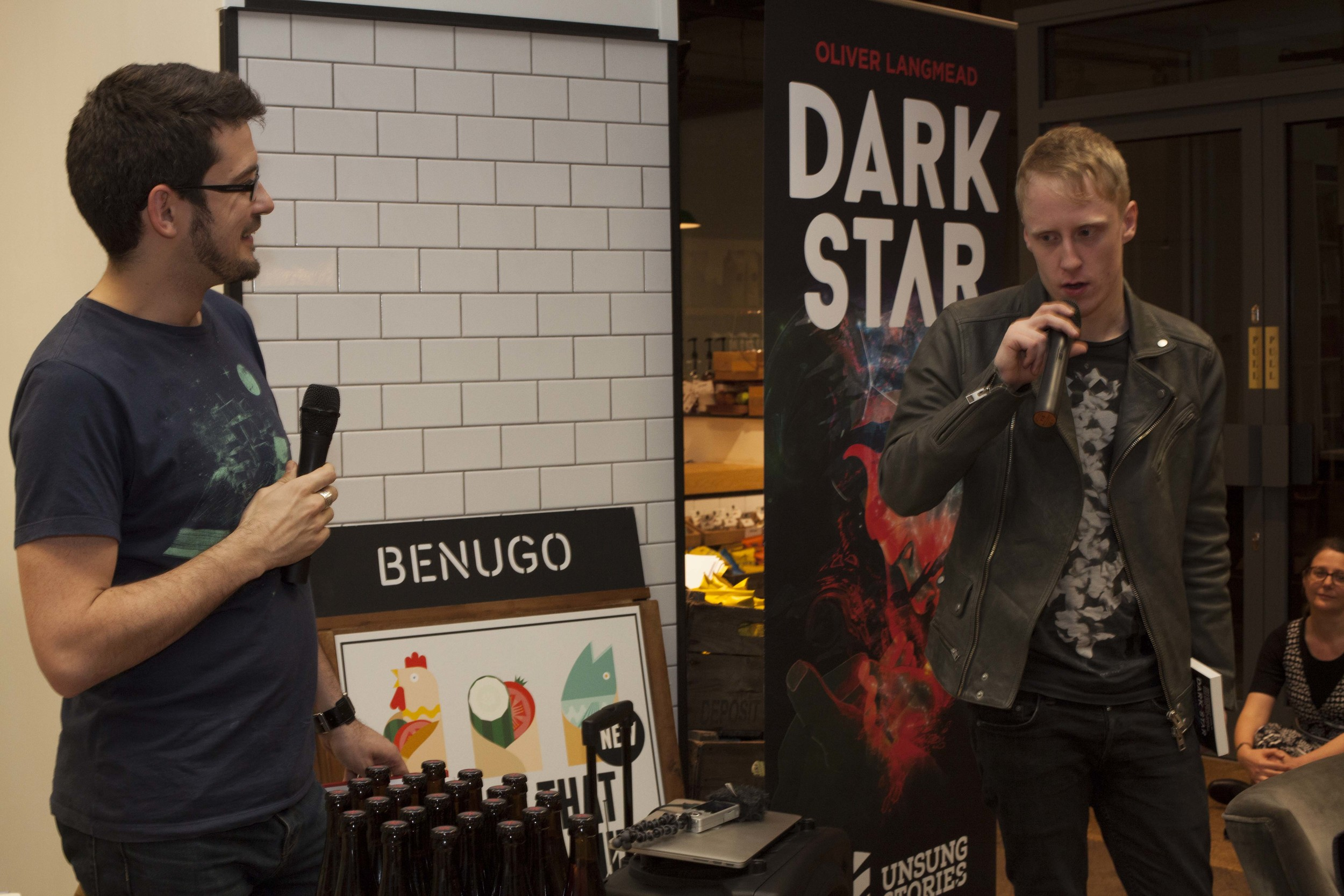 Oliver Langmead responds to a question from George Sandison of Unsung Stories at the official launch of Dark Star. Blackwells Holborn 20 March 2015.jpg