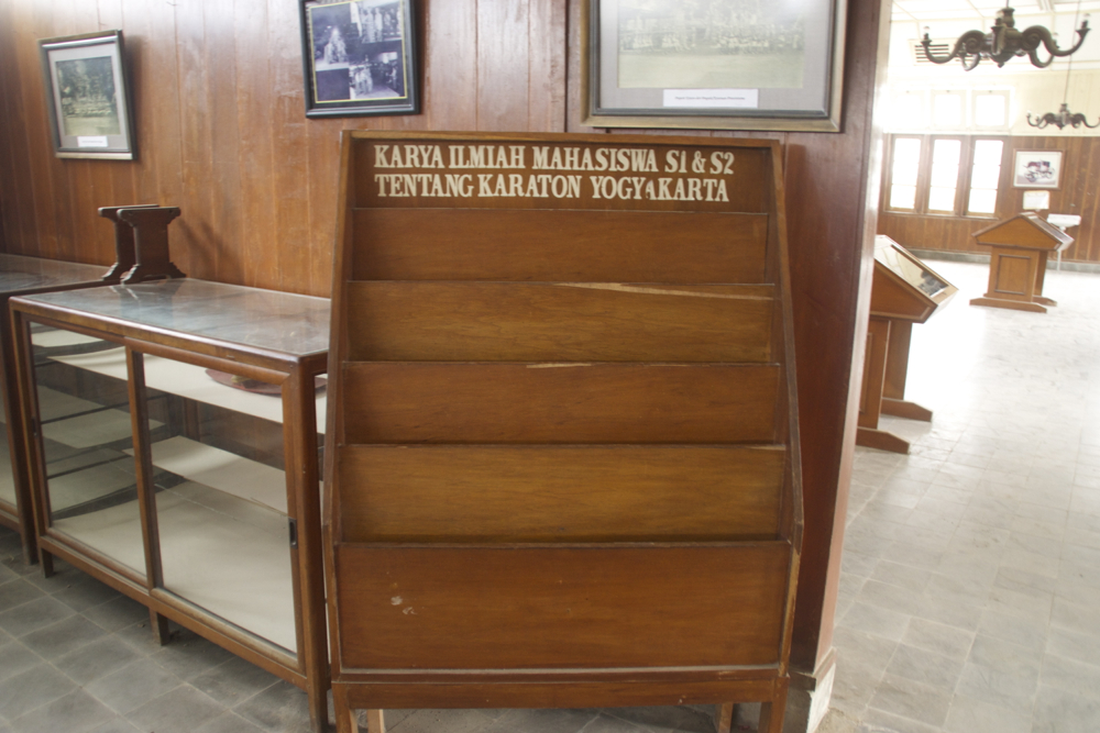 Very informative museum case in Yogyakarta. Notice the display case with one item in the background.