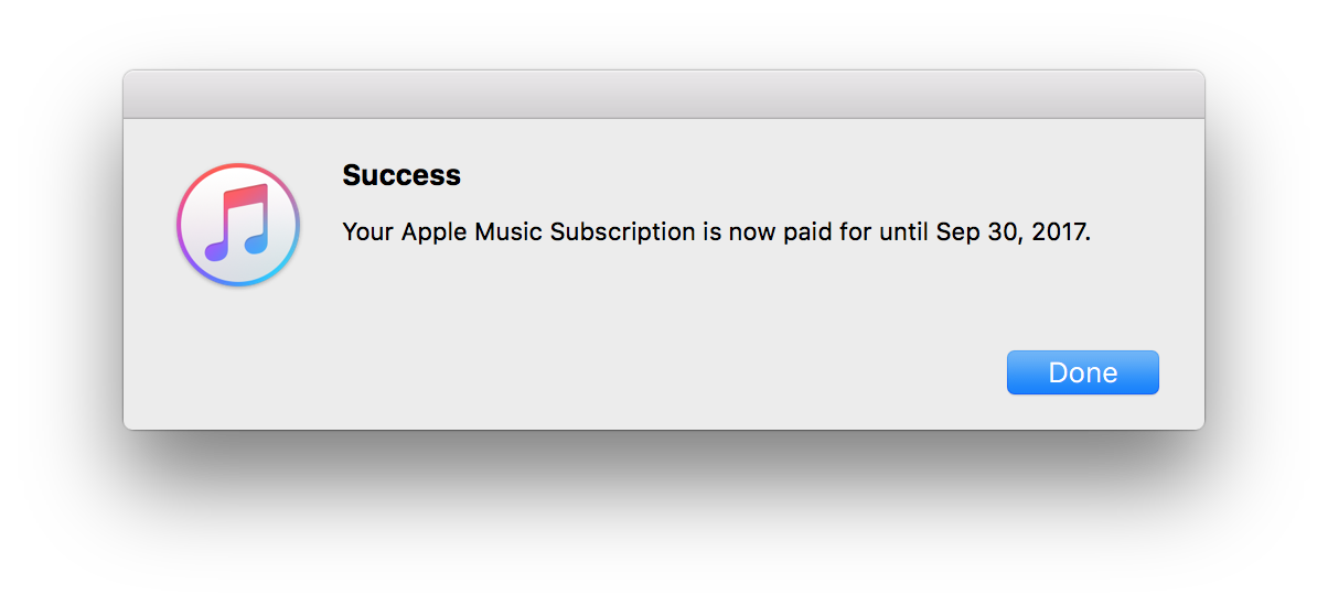 """The confirmation modal that pops up after you click and confirm """"Extend Your Membership."""" only after seeing this was I confident that the membership extension would actually work, despite what Apple Support told me."""