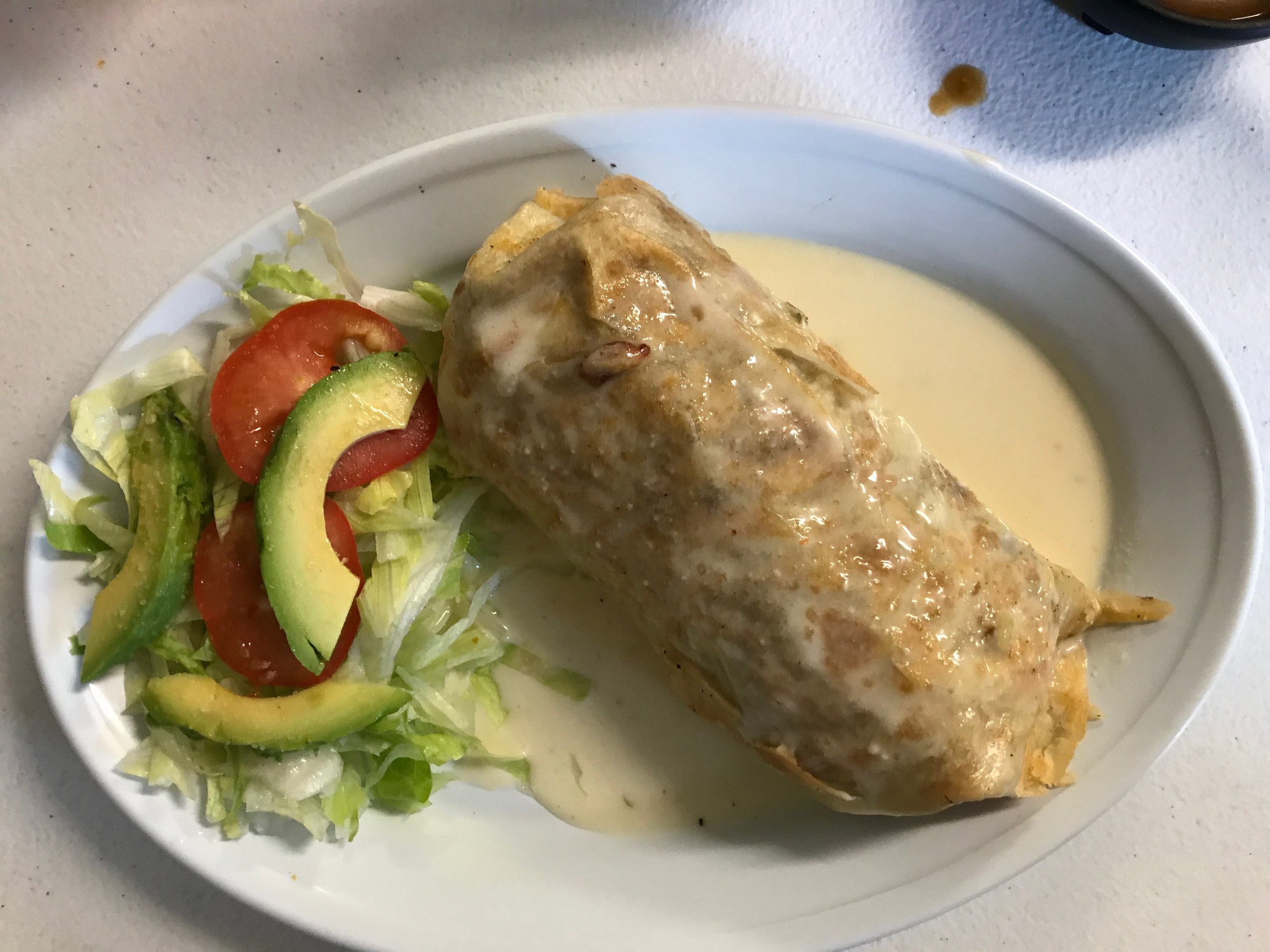 Chimichanga and Salad