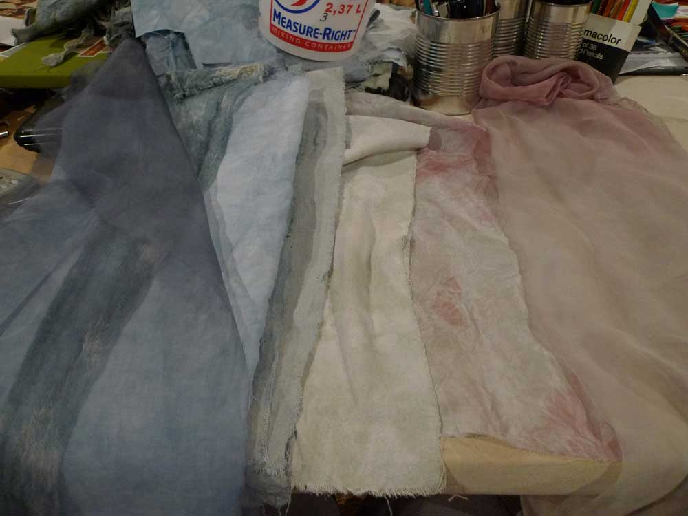 G&K 6160 Stormy Grey: 1/2 cup dye stock, 2 cup soda stock, 2 cup water (1 hour soak) - various silk, cotton, linen