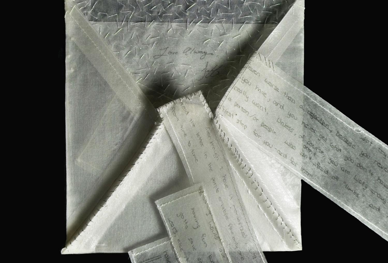 Silk organza, hand stitched