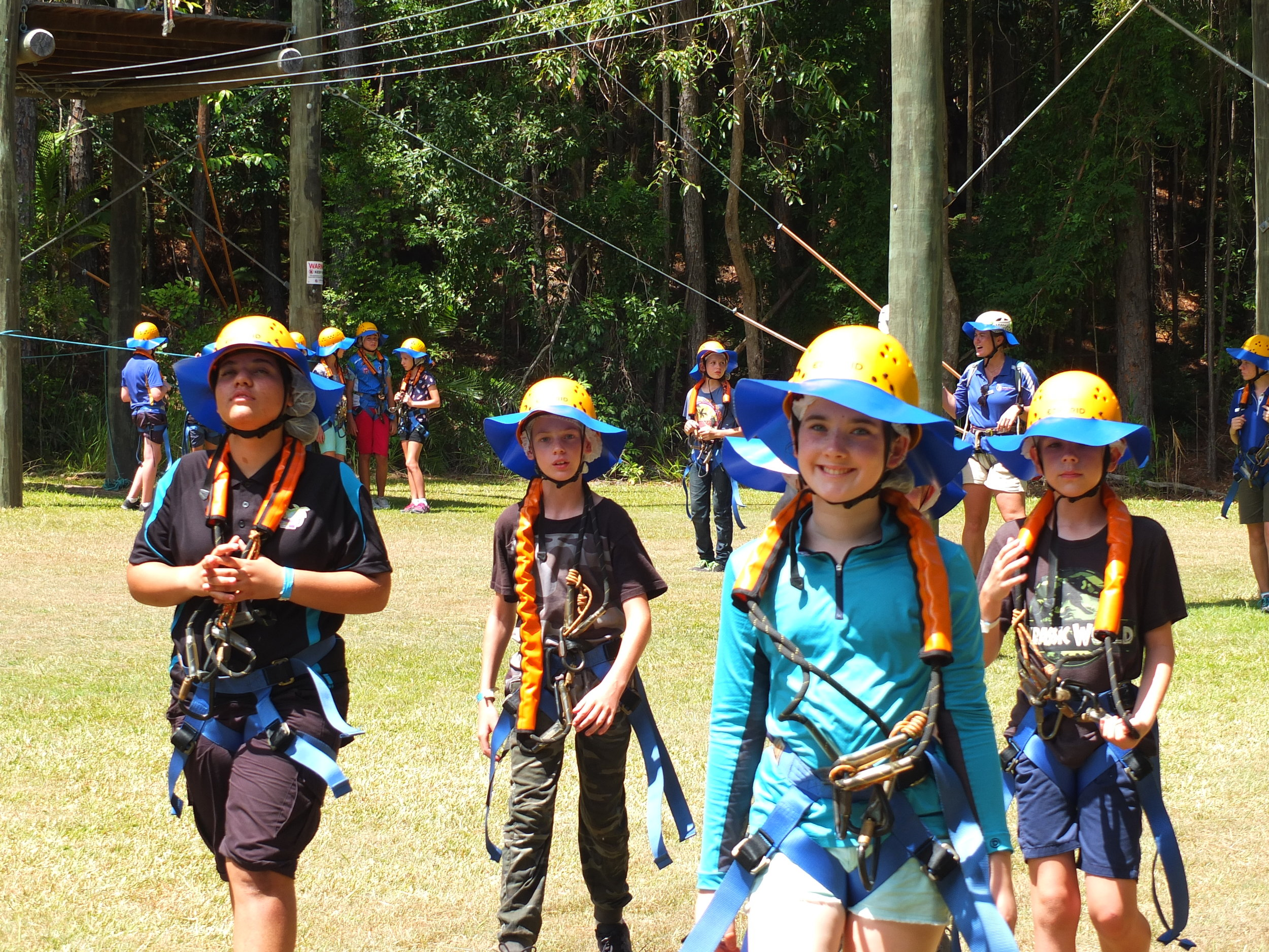 Year 7 students getting ready for the Flying Fox