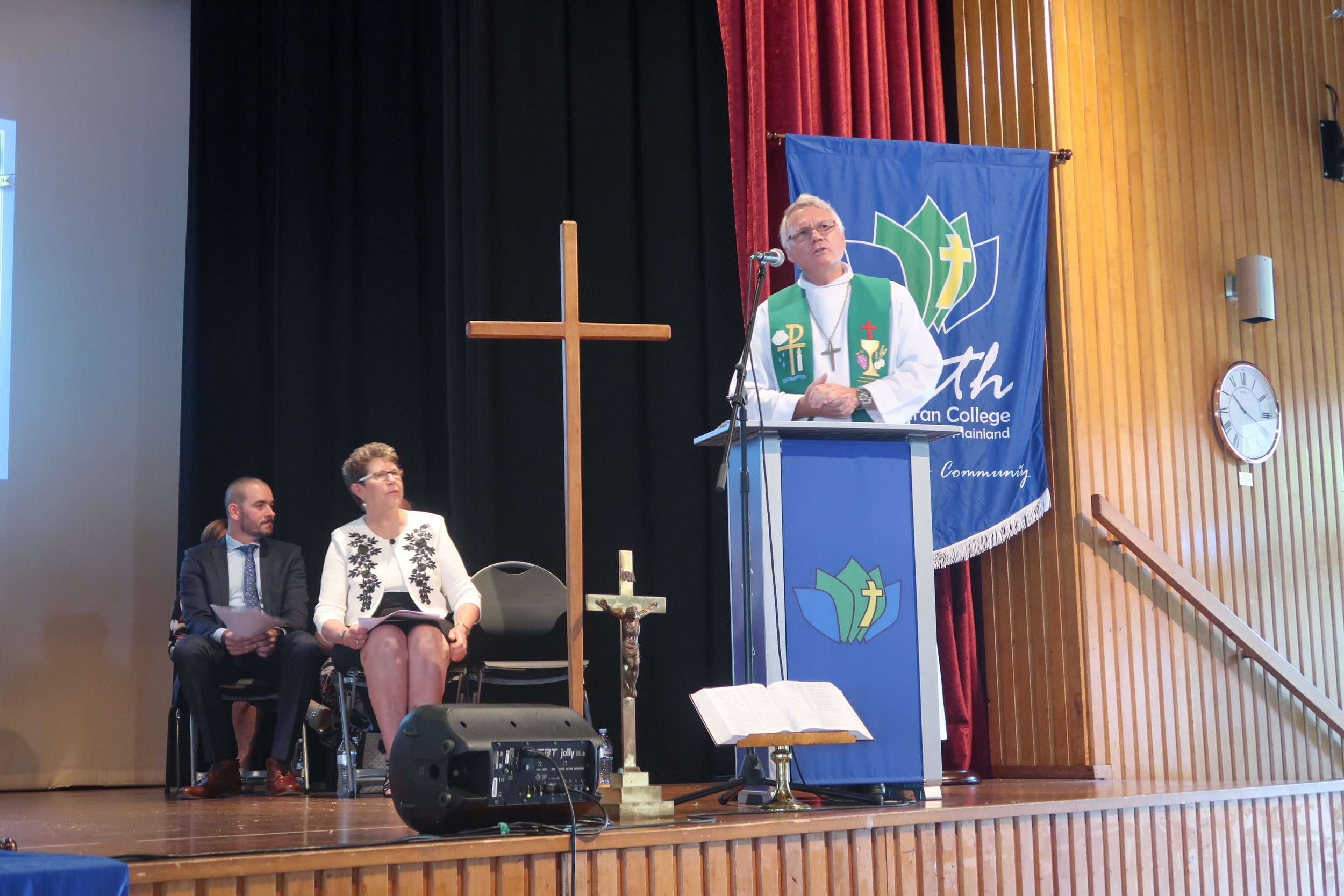Pastor Noel Burton delivering his message at Opening Service