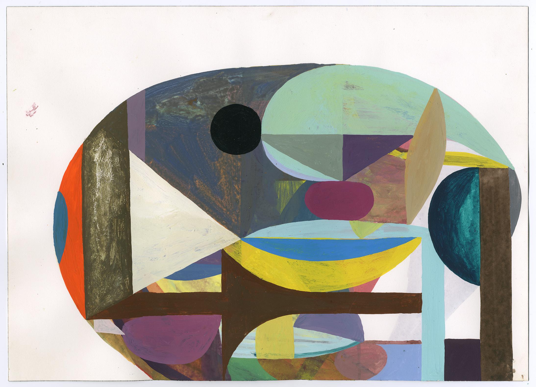 """Black Eye"" acryla gouache on paper, 10 x 14 inches, 2014"