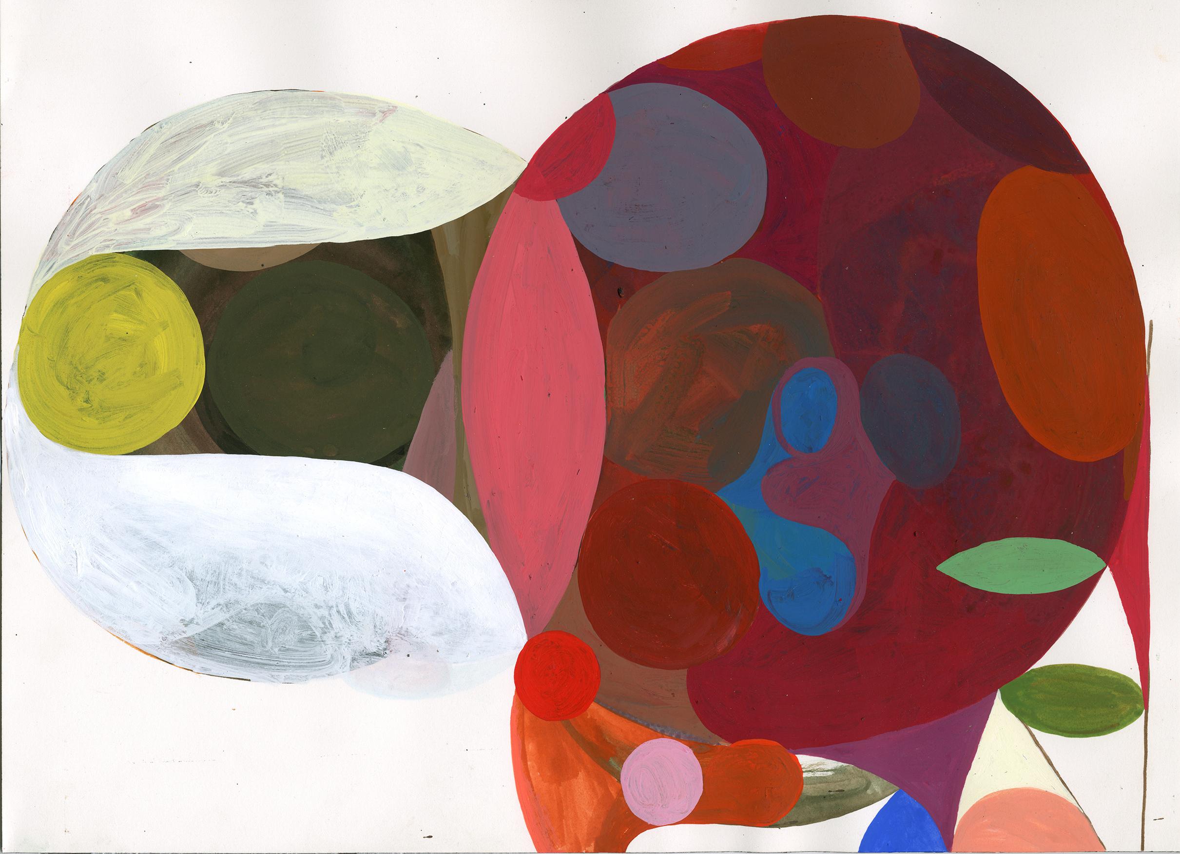"""Yellow Dot"" acryla gouache on paper, 12 x 16 inches, 2015"