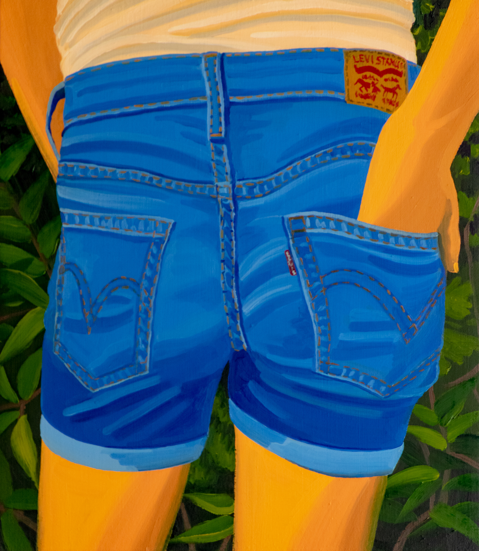 """""""Levi's"""" Oil on canvas, 16""""x14"""", 2018."""