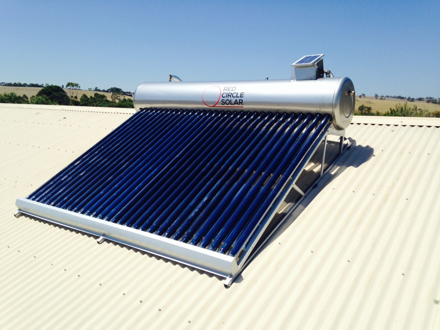 250ltr on roof evacuated tube solar hot water.