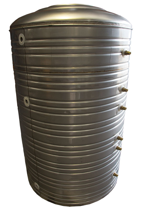 1000ltr stainless steel storage tank with 3 heat exchange coils. (click on photo for technical details)