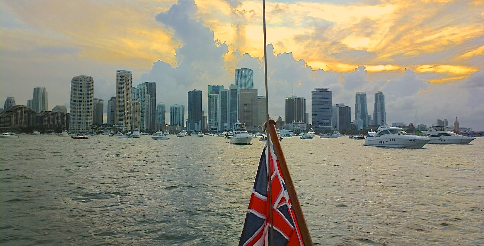 Sunset view from the port-side stern of  Peregrinus , off of Miami, 4 July 2013