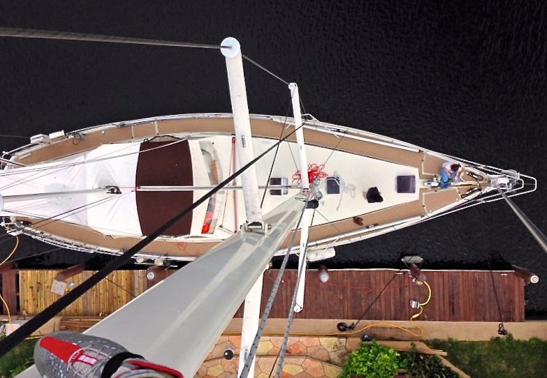 November 2013 photo from the top of the main mast.  That's the Seaman's right foot.