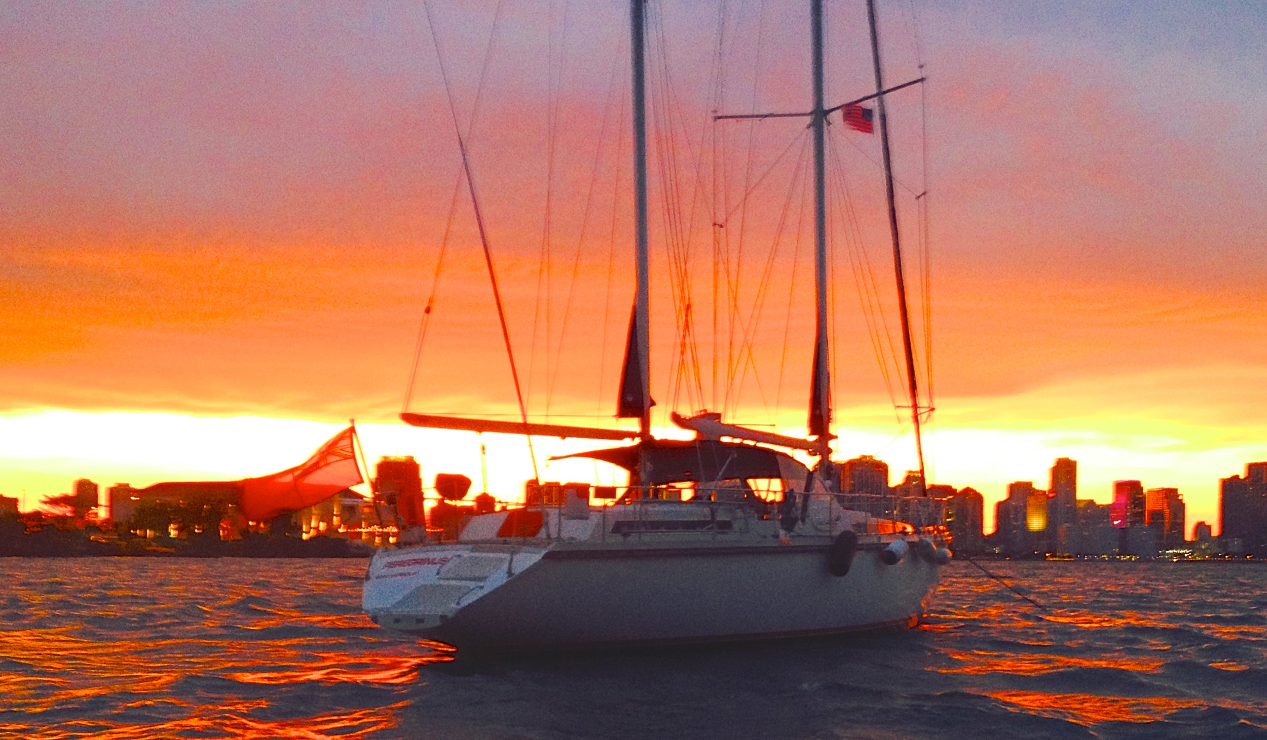 Peregrinus  at anchor, Biscayne Bay, Miami, 8:13 PM, 16 May 2014.  iPhone 4S, ISO 125, 1/20""