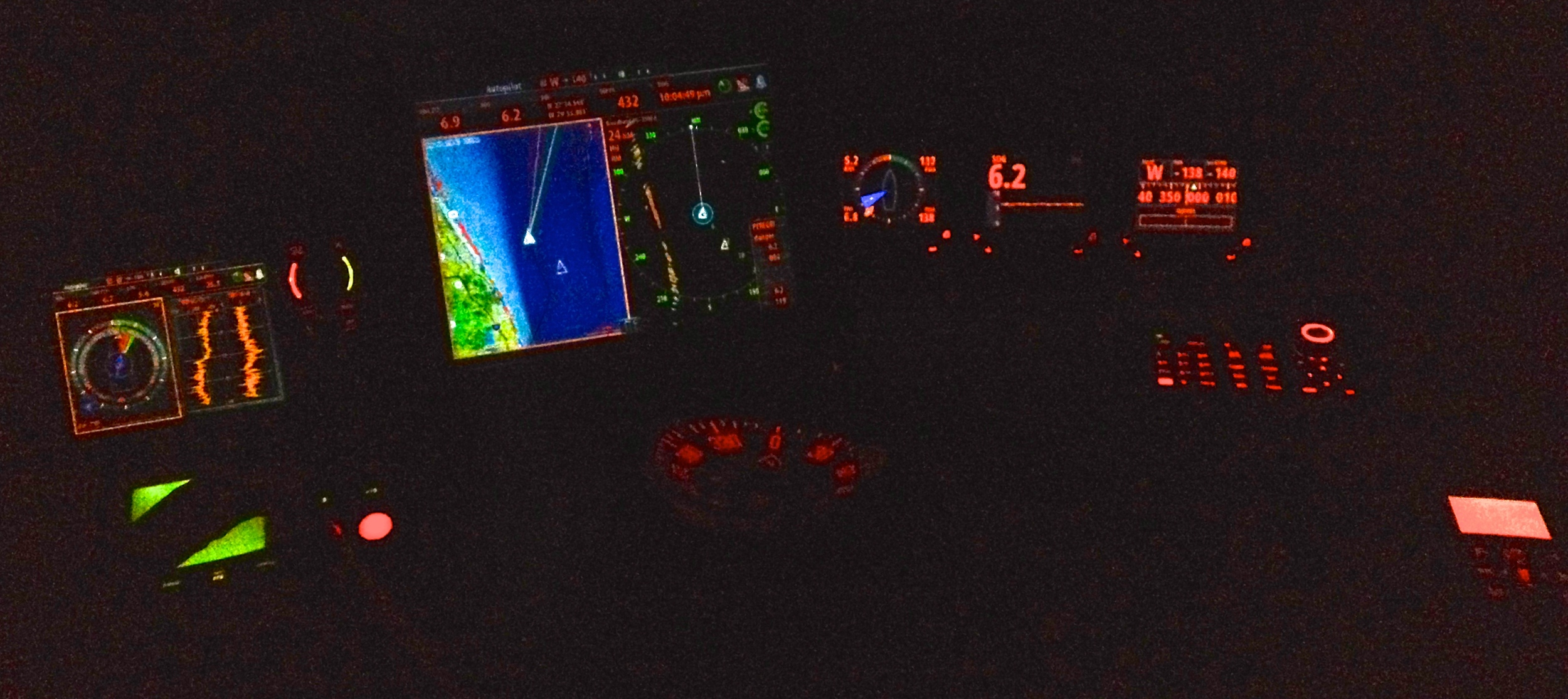 Peregrinus offshore on the Gulf stream, 10:05 pm 9 Jun 2014. iPhone 4.