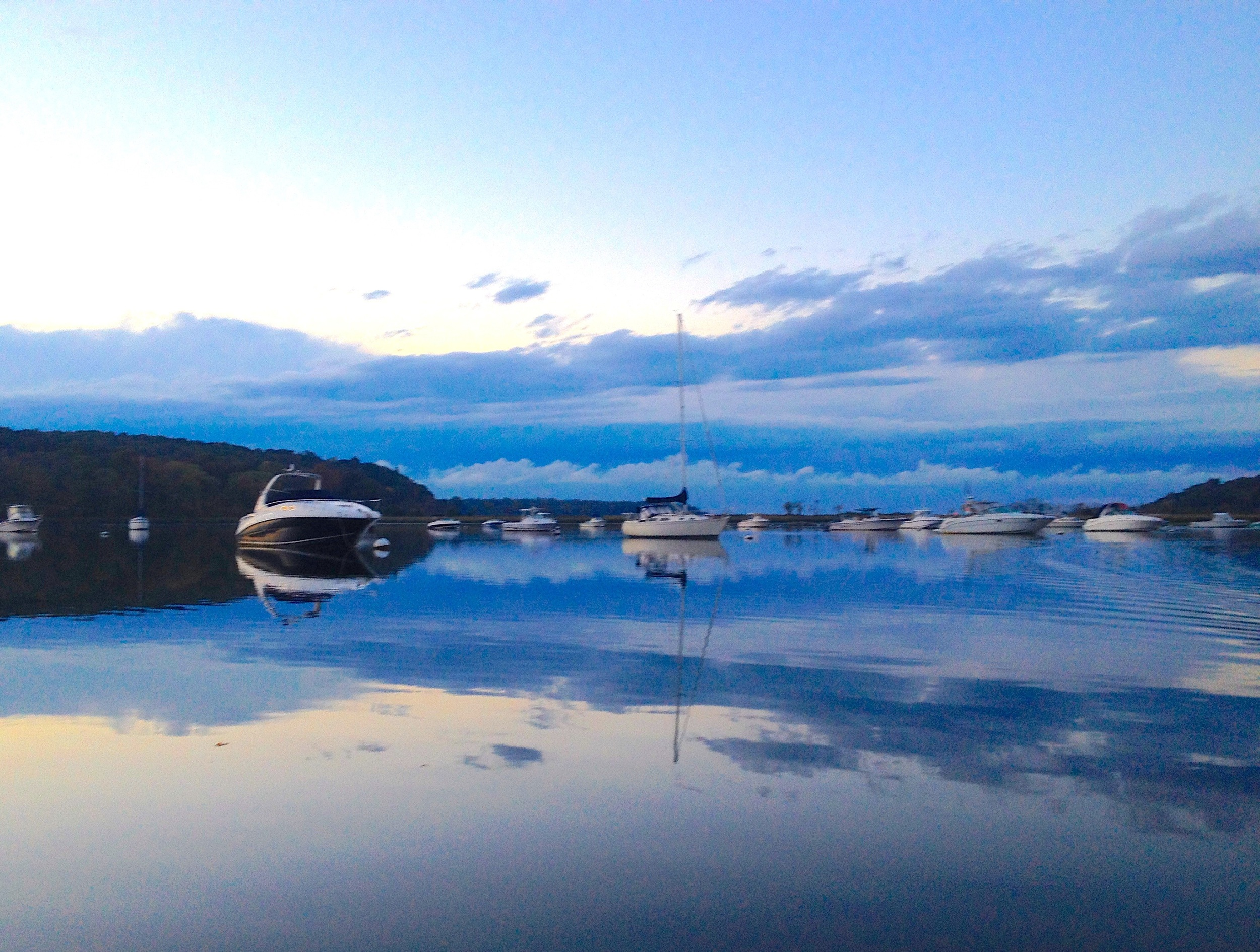The view after sunset at Cold Spring Harbor tonight. Tomorrow we sail for Oyster Bay. iPhone 4S.
