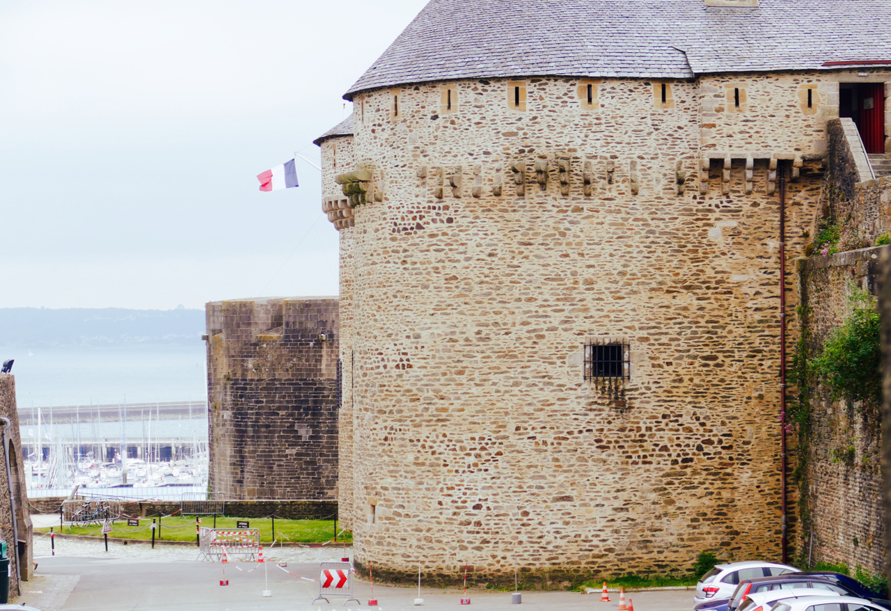 Brest Castle: Tour Paradis in foreground, Tour César behind it. Background: Marina du Château, home to 700 leisure boats, and to Peregrinus for a couple of days. Leica Typ 114.