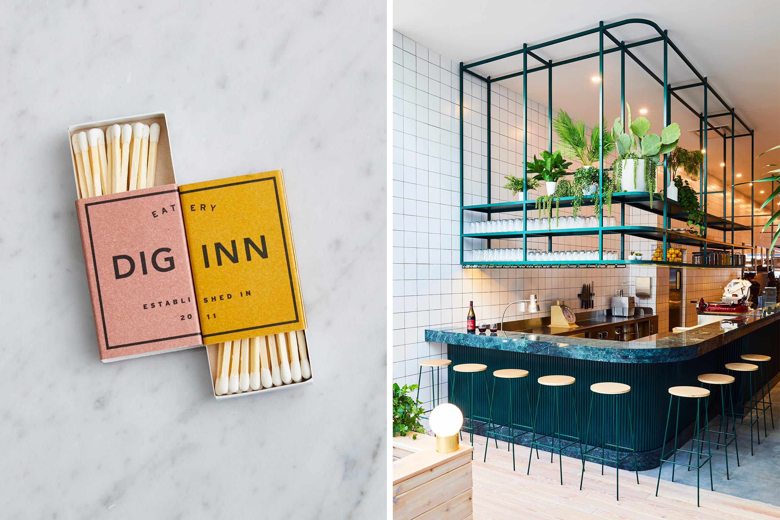 LEFT  Dig Inn merchandise; matchboxes.  Photo by Henry Hargreaves.   RIGHT  Charcuterie and wine bar at Dig Inn Rye Brook.  Photo by Christian Harder.