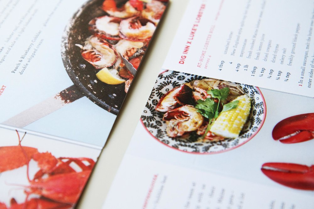 Printed booklet for Lobstapalooza—a summer picnic in Madison Square Park to celebrate the Dig Inn x Luke's Lobster collaboration. The booklet included details about the partnership, menu details for the evening, and take-home recipes.