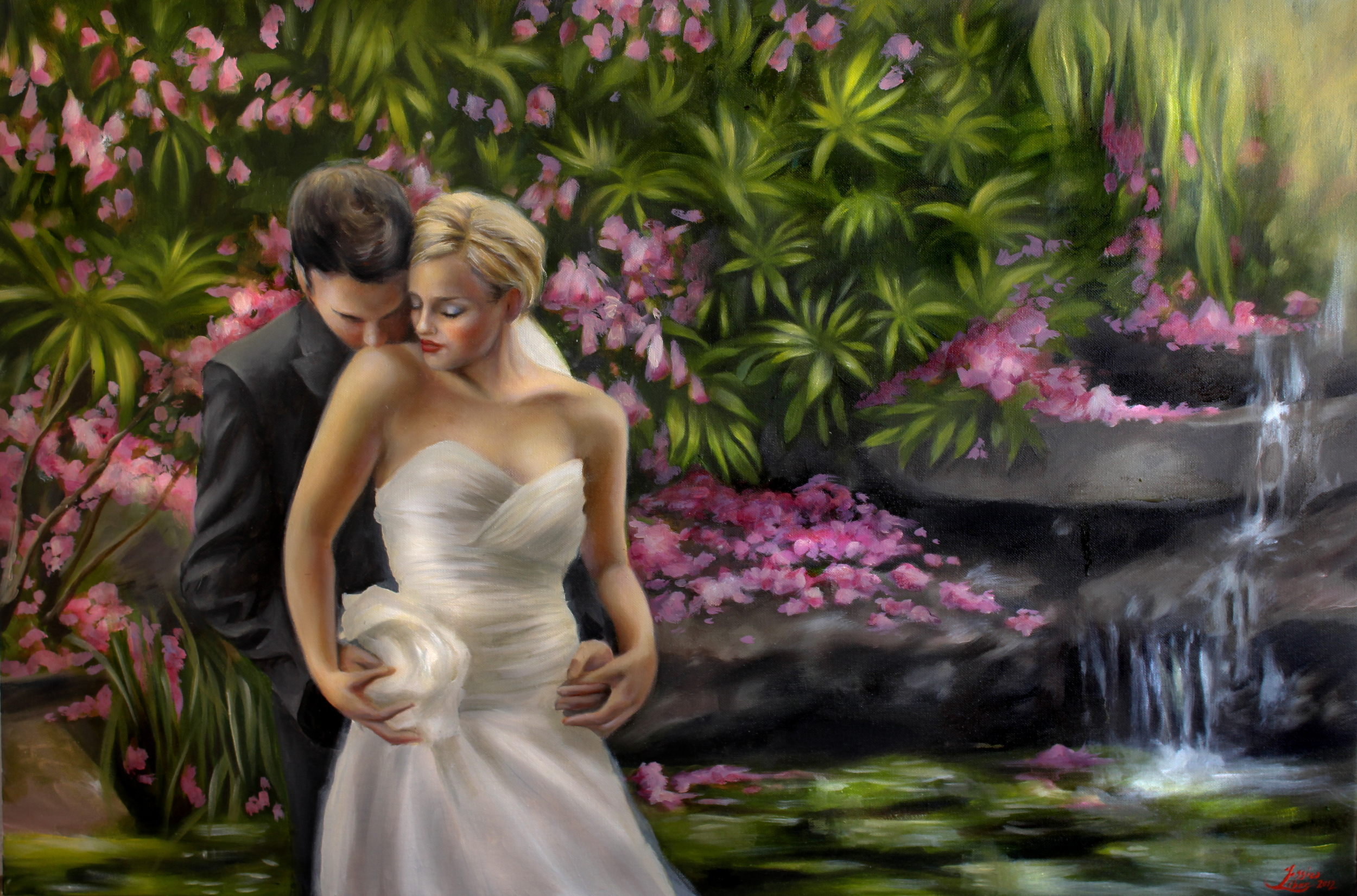 """Jill and Wayne, oil on canvas, 24"""" by 36"""", by Jessica Libor 2012"""