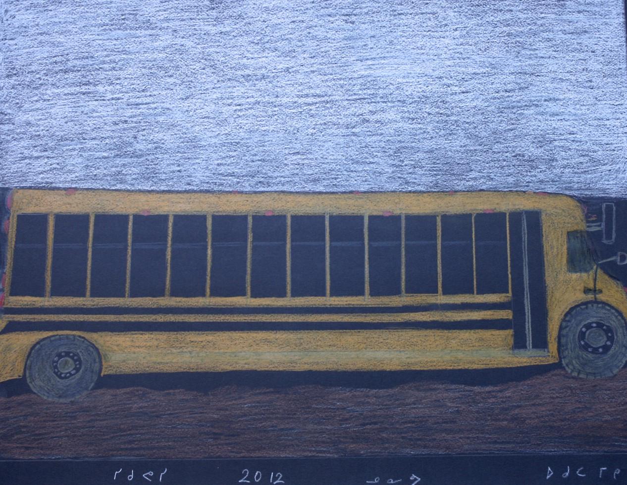 School Bus<Br>20 x 25.5<Br>Coloured Pencil<Br>$ 650