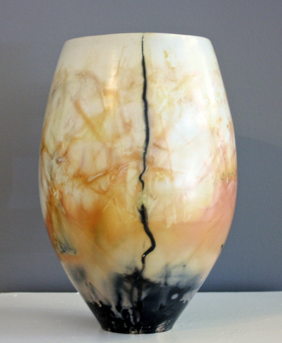 """Vase #8 13.5"""" x 10"""" Saggar Fired Pottery SOLD"""