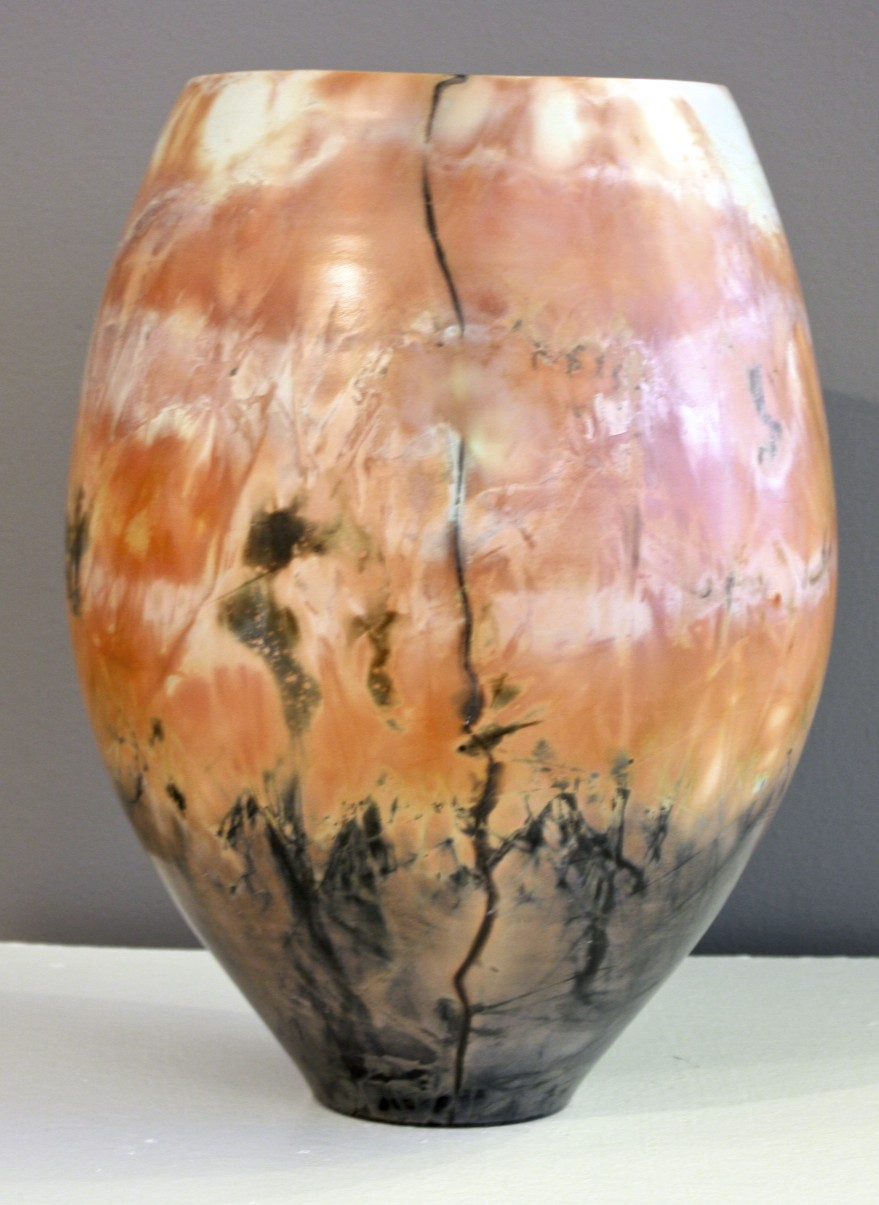 """Vase # 3 13"""" x 8"""" Saggar Fired Pottery SOLD"""