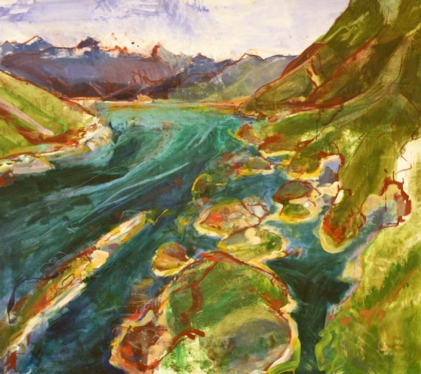 Memories of the Sound<br>42 x 48<br>Oil on Board<br>$ 3400