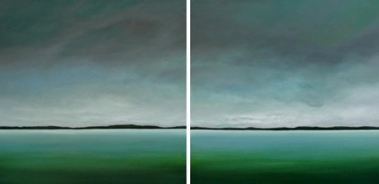 A Moment You Can't Record (Diptych) 36 x 72 Oil on Canvas