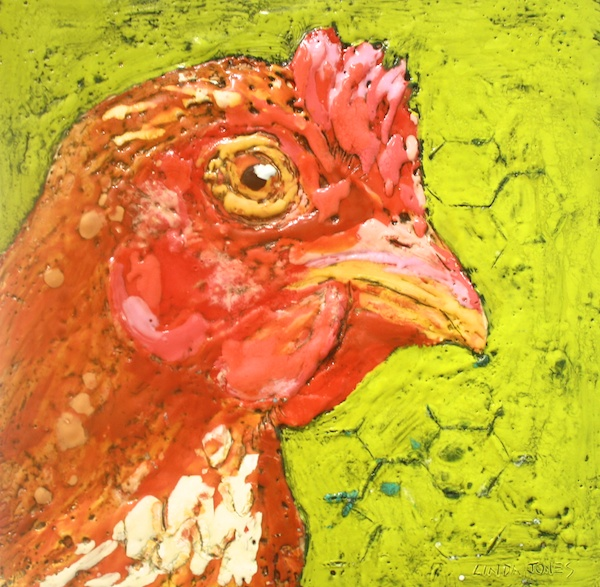 Ladies... You Are On 10 x 10 Encaustic and Mixed Media on Board SOLD