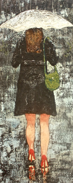 Red Shoes<br>48 x 20<br>Encaustic and Mixed Media on Board<br>$ 2880